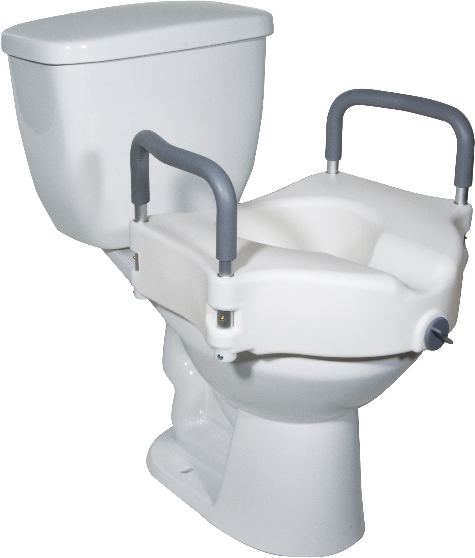 2 in 1 Locking Raised Toilet Seat with Tool free Removable Arms